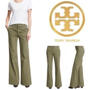 NWT Tory Burch Agave Cotton Flare Trouser Pants